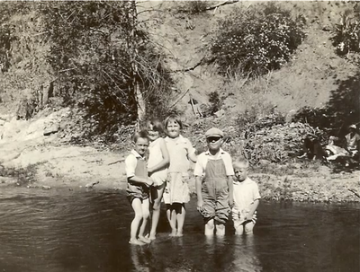 Dorothy & bobby & friends at swimming hole