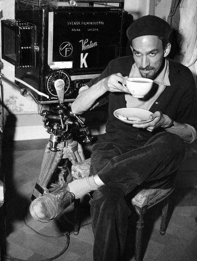 Ingmar Bergman on set
